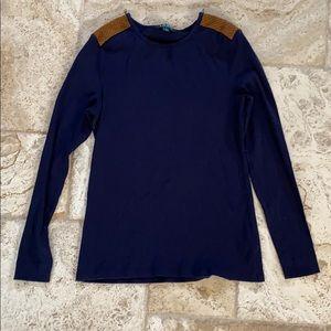 RL Lauren navy long sleeve top w/ suede zippers Lg